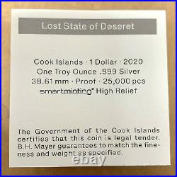 2020 Cook Islands $1 Lost States of America Deseret 1 oz. 999 Silver Proof Coin