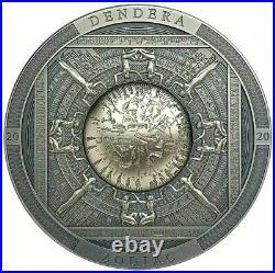 2020 Cook Islands $20 Dendera Egypt Zodiac Antiqued Finish 3oz. 999 Silver Coin