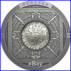 2020 Cook Islands 3 Ounce Dendera Zodiac High Relief Antique Finish Silver Coin