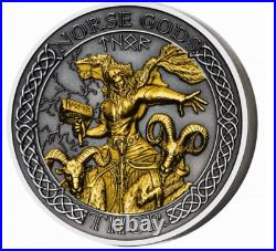 2020 Cook Islands Norse Gods THOR High Relief 2 oz Silver Antique with Gold Gild
