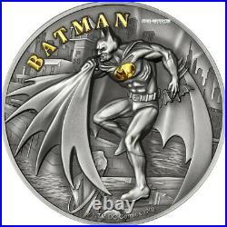 2021 2 Oz Silver $10 Cook Islands BATMAN Antique Finish Coin