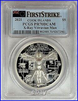 2021 $5 Cook Islands 1oz Silver Proof X-Ray Vitruvian Man PCGS PR70 First Strike