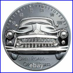 2021 Cook Islands Classic Car Ultra High Relief 2 oz Silver Black Proof $10 Coin