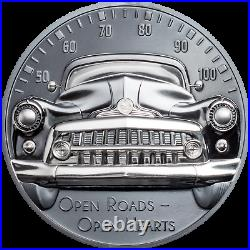 2021 Cook Islands Classic Car Ultra High Relief 2 oz Silver Black Proof Coin CIT
