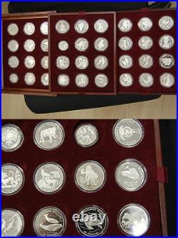 36 Silver Coins 1990-93 Cook Islands, San Marino, Tuvalu, China, Kiribati Pf