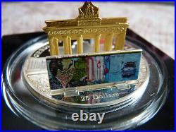 3 Unzen 999 Silber Cook Islands 25 Dollar Skulpturmünze 2009 Brandenburger Tor
