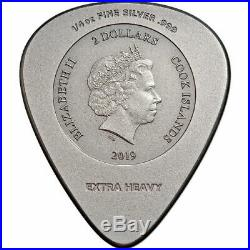 AC/DC GUITAR PICK PLUG ME IN 2019 $2 1/4 oz Pure Silver Coin Cook Islands