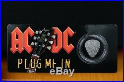 AC/DC Guitar Pick Plug me in $2 Silver Coin Cook Islands 2019