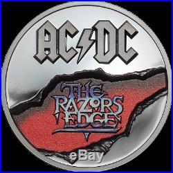 AC/DC RAZORS EDGE 2 Oz High Relief Silver Coin Cook Islands 2019