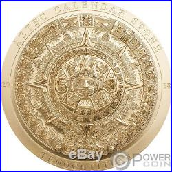AZTEC CALENDAR Gilded Archeology Symbols 3 Oz Silver Coin 20$ Cook Islands 2018