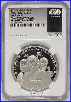 Anakin Skywalker 2005 Silver Coin $5 Star Wars NGC PF 69 Cook Islands JX581