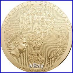 Aztec Calendar 2019 3 Oz Pure Silver High Relief Gilded Coin Cook Islands
