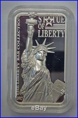BJSTAMPS2017 Cook Islands Statue of Liberty PF Silver Bar $10 Coin. 999 Silver