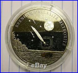 Brenham Pallasite Meteorite Silver 5 Dollar Coin COA Elizabeth Cook Islands