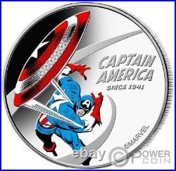 CAPTAIN AMERICA 80th Anniversary Marvel 1 Oz Silver Coin 1$ Cook Islands 2021
