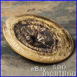 CHERGACH METEORITE 1/2oz Silver Gold Gilded Coin 2017 COOK ISLANDS 2 Dollars