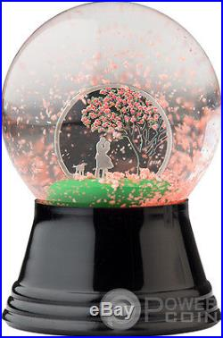 CHERRY BLOSSOM Snow Globes Silver Coin 1$ Cook Islands 2017
