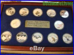 COOK ISLANDS 1997 $10 12 COIN SILVER PROOF NATIONAL PARK WILDLIFE SET +Display
