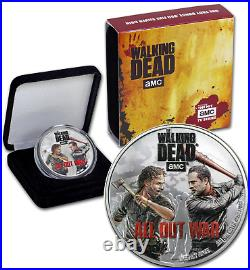 COOK ISLANDS $2 2018.999 Silver 1oz. Proof AMC The Walking Dead All Out War