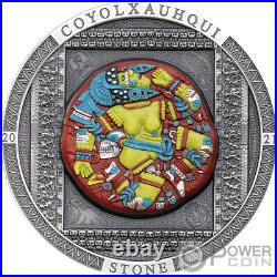 COYOLXAUHQUI STONE Coloured Symbolism 3 Oz Silver Coin 20$ Cook Island 2021