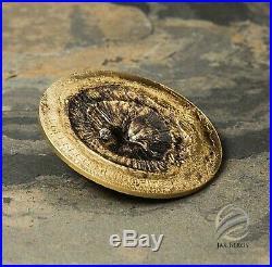 Cook Island 2017 $2 CHERGACH Meteorite Impacts Gilt Silver Coin with COA and Box