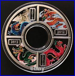 Cook Island 4 Silver Coins 1X4 Dollars 2012 Year Of The Dragon 2 Oz