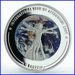 Cook Island 5 dollars Year of Astronomy Earth planet colored silver coin 2009