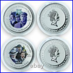 Cook Island, Sherlock Holmes set of 4 Silver coins of the movies 2007 RARE