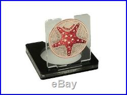 Cook Islands 1$ Silver Star Starfish Diamond Effect 1 Oz Silbermünze. 500 St