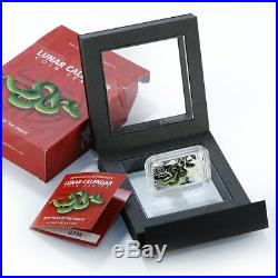 Cook Islands $1 Year of the Snake Green 2013 Rectangular 1oz Silver Coin Proof