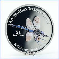 Cook Islands 1 dollar Rainforest Damselfly proof silver coin 2000