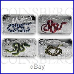 Cook Islands, $1, four coins set Year of the Snake, Lunar Calendar, silver, 2013