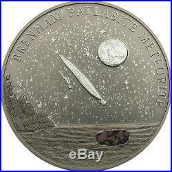 Cook Islands 2007 5$ Brenham meteorite Silver coin Uncirculated