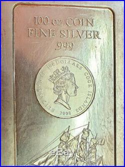 Cook Islands 2008 100 $100 oz 3,1 Kg Bounty Segelschiff 999 Silber Münz Barren