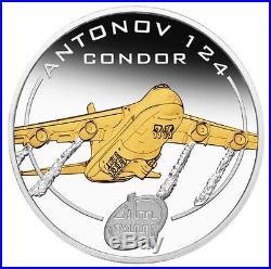 Cook Islands 2008 $1 Antonov An-124 Condor 1 Oz Silver Proof Coin Gold-Gilded