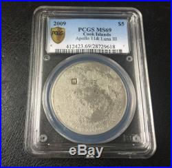 Cook Islands 2009 $5 MOON Lunar Proof Silver Coin Real Meteorite Insert PCGS69