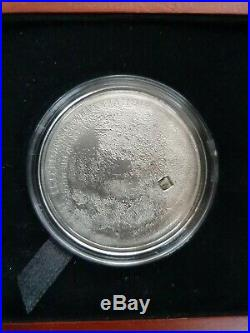 Cook Islands 2009 Lunar Moon $5 Silver proof with inc part real Meteorite