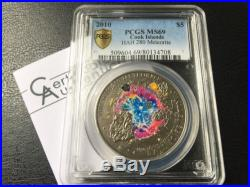 Cook Islands 2010 $5 HAH 280 Real Meteorite Insert Silver Coin PCGS69 Rare