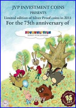 Cook Islands 2011 $25 Soyuzmultfilm Winnie-the-Pooh 5 Oz Silver Proof Coin