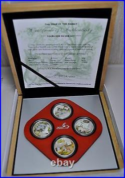 Cook Islands 2011 4×2$ Lunar The Year of the Rabbit 4 x20g Silver Proof Coin Set