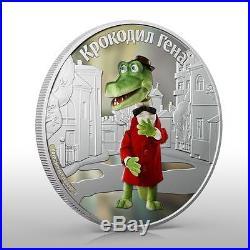 Cook Islands 2011 $5 Cartoon Cheburashka Gena the Crocodile 1 Oz Silver Coin