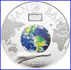 Cook Islands 2012 $10 Nano Earth The World in Your Hand 50g Silver Proof Coin