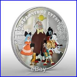 Cook Islands 2012 25$ Adventures of Buratino 5 Oz Silver Coin MINTAGE 500 ONLY