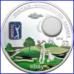 Cook Islands 2012 5$ PGA TOUR GOLF BALL Silver Coin