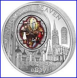Cook Islands 2013 10$ Windows of Heaven LOURDES 50g Silver Coin