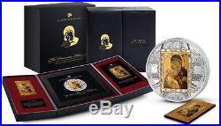 Cook Islands 2013 20$ Virgin of Vladimir Masterpieces 3 Oz Silver & Gold Coin