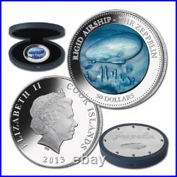 Cook Islands 2013 50$ Zeppelin Mother Of Pearl Airship Hindenburg Silver Coin