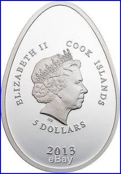 Cook Islands 2013 $5 Imperial Egg in Cloisonné Easter Beauty in Red Silver Coin