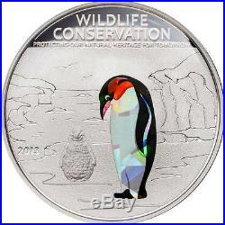 Cook Islands 2013 $5 Wildlife Conservation Prism Penguin Silver Coin