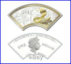 Cook Islands 2013 Year of the Snake FAN-SHAPED Proof Silver Coin